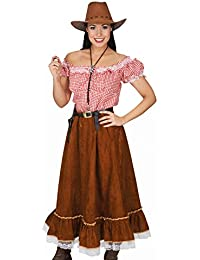 Cowgirl Costume Women 2 Piece Western Costume Cowboy Girl Blouse, Skirt