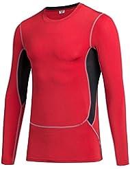 3 generaciones de hombres corriendo deportes y entrenamiento físico tramo estrecho de mecha de manga larga ropa de la camiseta de 1029 , red , s