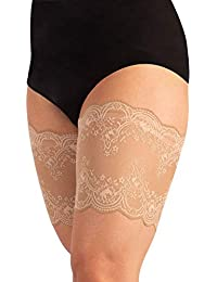 ANTI CHAFIN BANDS | THIGH BANDS | ELASTIC LACE ANTI-CHAFING GARMENT | BLACK, NATURAL | FLORAL PATTERN | CURVY BY CALZITALY |