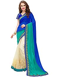 Panchratna Women's Women's Embroidered Sky Blue Half And Half Georgette Saree With Blouse Material