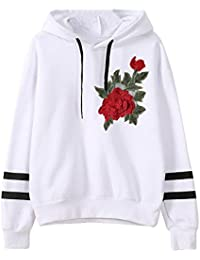 657ada06b277 Damen Kapuzenpulli, Ulanda Teenager Mädchen Pullover Hoodie Pulli Sweatshirt  Streetwear Langarm Kapuzenpullover mit Rose Stickerei