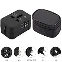 HHT202 Travel Adapter Dual USB Port Charging AC Power Plug Adapter with Storage Bag for USA/UK/EU/AUS Plug Black