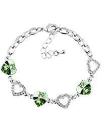 Le Premium® Kleeblatt Kristall Charme Armbänder herzförmigen Swarovski Peridot Grün kristalle