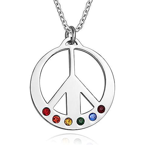 LianDuo Acciaio inossidabile Cubic Zirconia tranquilla Simbolo rotonda collana pendente Orgoglio arcobaleno per Gay Lesbiche LGBT,la catena libera
