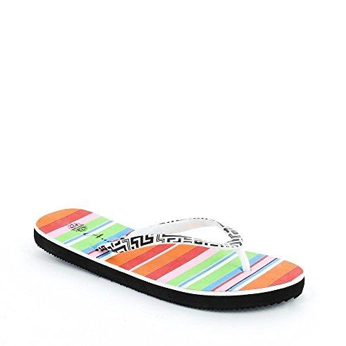 Ideal Shoes Infradito stampato Lyna Nero-Bianco