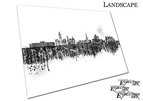 Poster Druck schwarz & weiß Painterly Spray Paint Skyline Chesterfield Town in England - a2