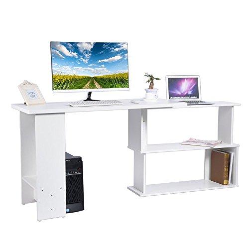 Angolo computer scrivania tavolo porta pc scaffale laptop desk a forma di l,casa ufficio studio tavolo scrivania con mensola,90° rotazione,120*48*74 (bianco)