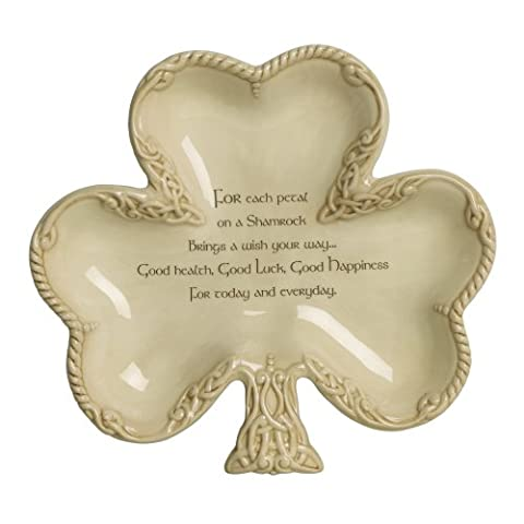 Grasslands Road Celtic 7-1/4-Inch by 8-Inch Shamrock Shaped Bowl with Good Wishes Message by Grasslands Road