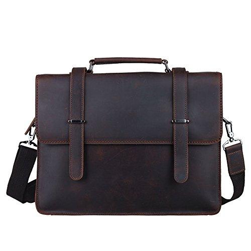 Cartella uomo Borsa multifunzionale della borsa del messaggero della spalla del sacchetto del taccuino della borsa del taccuino a 14 pollici della borsa di cuoio del cuoio degli uomini Borsa a tracoll