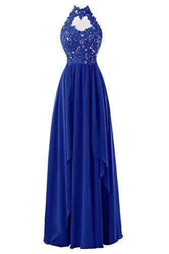Carnivalprom Damen Abendkleider Mit Applikation Lang Elegant Maxikleider Hoher Ausschnitt Ballkleider Partykleider Königsblau