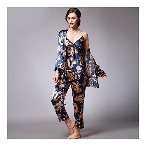 HAOLIEQUAN 3 Stück Pyjama Hosen Pyjama Sets Damen Schlaf Lounge Dragon Print Pyjama Set, Rb, M