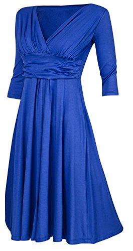 Zeta Ville - Robe manches 3/4 décolleté en V Effet cache-coeur - Femme - 401z Bleu Royal