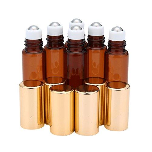niceEshop(TM) 5ML Bouteille en Verre avec Bille en Acier Inoxydable pour Huile Essentielle, Parfum et Baume à Lèvres (Brun Foncé)