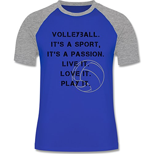 Shirtracer Volleyball - Volleyball Statement - Herren Baseball Shirt Royalblau/Grau meliert
