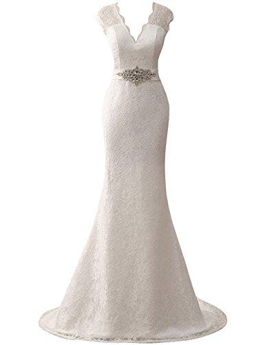 JAEDEN Donne scollo a V Abiti da sposa Lungo Pizzo Mermaid Vestito da sposa Avorio