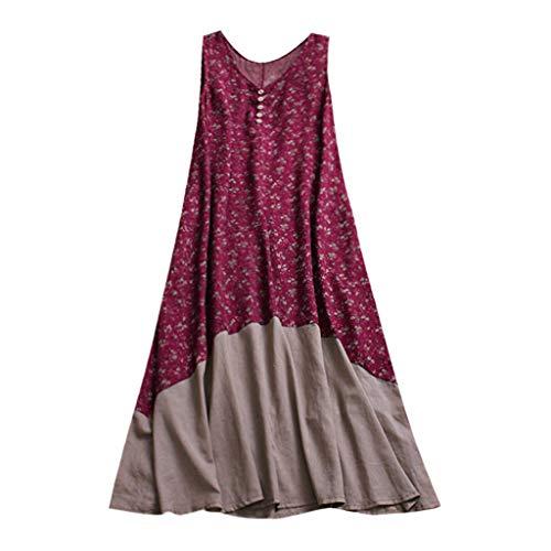 KIMODO Damen Kleid Sommer Vintage Patchwork Lose Boho Retro Maxikleid Kleider Rot Blau Mode 2019 (Rot, Small) Floral Print Rock Röcke Clearance