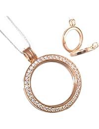 Venta en línea exclusivo plata de ley joyas: de oro rosa y cristal adornado marco de fotos colgante (incluye cadena) (N312)