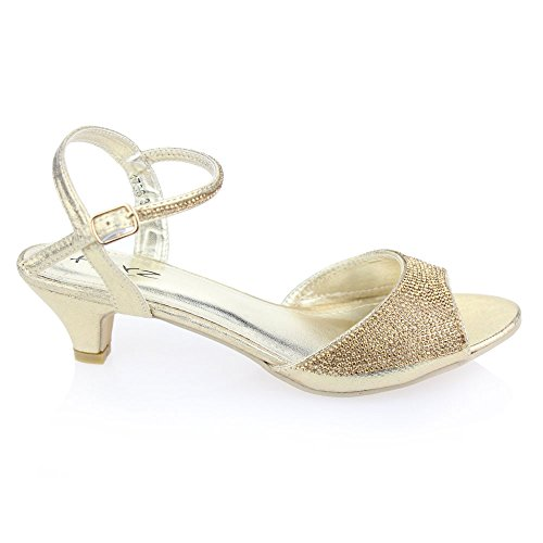 Aarz Femmes Mesdames Soirée Party Mariage Low Kitten Heel Peep Toe Diamante Sandal Chaussures Taille (Or, Argent, Champagne, Noir, Rose) Or