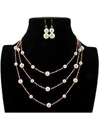 7808c58ef948 Collar y pendientes bisutería conjunto de boda Las mujeres de oro perlas de  imitación de tres capas de cadena nupcial…