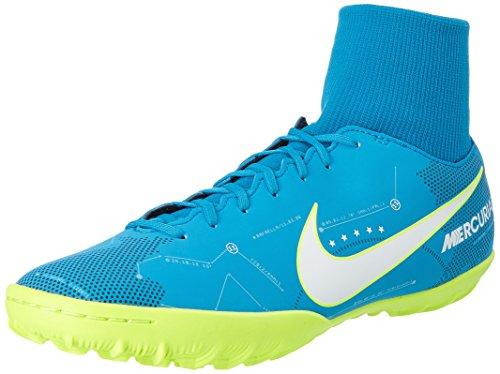 Nike mercurialx victory 6 df njr tf, scarpe per allenamento calcio uomo, turchese (blue orbit/white/armory navy/volt), 43 eu