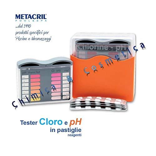 POOL TESTER PH + Cloro in pratiche pastiglie reagenti - Ideale per Piscina e Spa idromassaggio. Spedizione IMMEDIATA