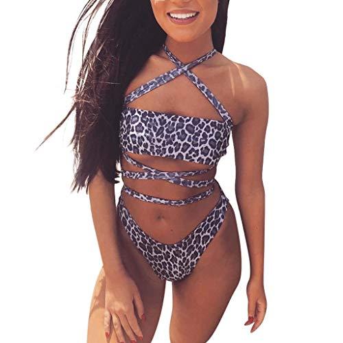 TOPKEAL Damen Bikini Set Leopardenmuster Kreuz Swimsuits Push up Bademode Weiches Beachwear Strandkleidung Badekleid Mit Tangas Mode 2019 (Lila, Small)