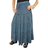 Boho Chic Womens Tiered Maxi Skirt Dramatic Grey Georgette Embroidered Holiday Fashion Long Skirts