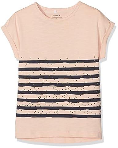 NAME IT Mädchen T-Shirt Nitithilde SS Top Nmt, Rosa (Evening Sand), 158 (Herstellergröße: 158-164)