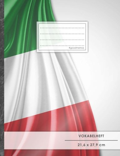 """VOKABELHEFT DIN A4 • 50+ Seiten, Soft Cover, Register, 2 Spalten, Erfolgs-Tacker, """"Italienische Flagge"""" • Original #GoodMemos Schulheft • Sprachen und Vokabeln leicht lernen, Lineatur 53"""