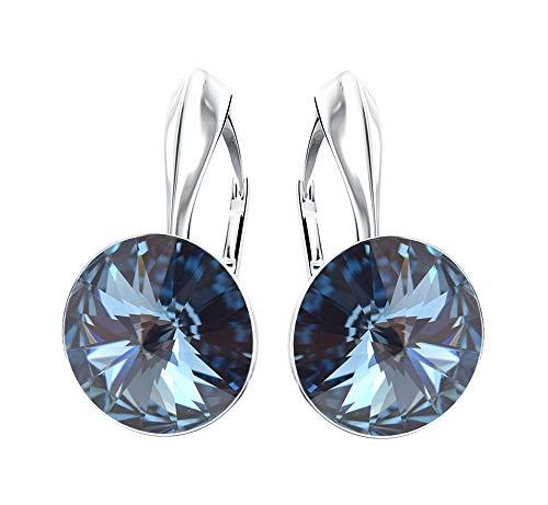 """*Beforya Paris* Rivoli -\""""Rainbow Glow\"""" - Tolle Ohrringe - Farben Varianten - Silber 925 Schön Damen Ohrringe mit Kristallen von Swarovski Elements - Wunderbare Ohrringe (Denim Blue)"""