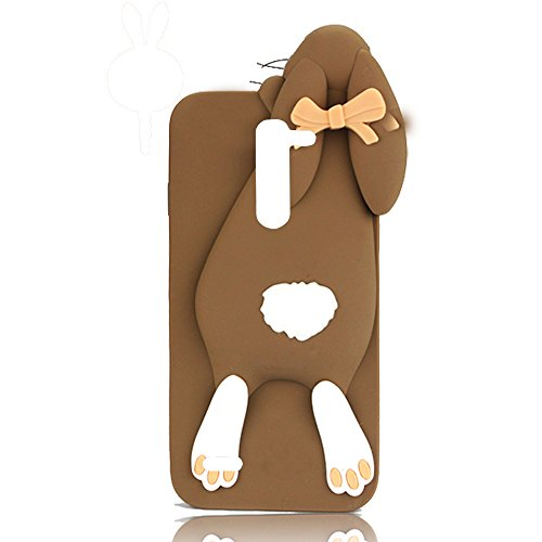 Sunroyal 3D Fashion Case Cute Funny Süße Silikon Schutzhülle Buck Teeth Bunny Rabbit Soft Weichem Handy Tasche für LG G3 Stylus D690 D690N Karikatur Cartoon Zubehör Set Handyhülle Etui Skin Shell Zurück Rückseite,Braun Brown