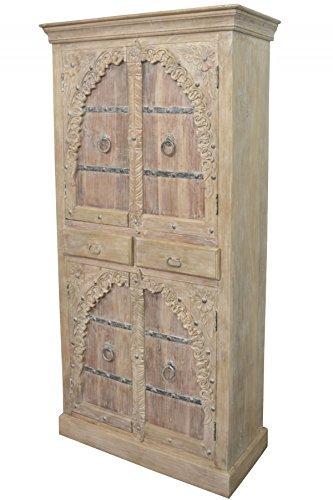 Orientalischer Grosser Schrank Kleiderschrank Belen 190cm hoch | Marokkanischer Vintage Dielenschrank schmal | Orientalische Schränke aus Holz massiv für den