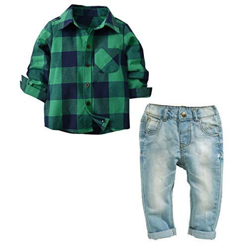 Wallfire 2 pezzi/set bambino ragazzo vestiti gentiluomo neonato manica lunga camicia a quadri scozzese + abiti jeans (size : 140)