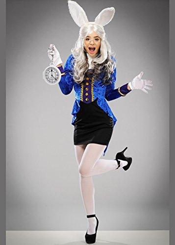 Magic Box Int. Womens Cute Wonderland White Rabbit Kostüm S/M (UK - Wonderland Rabbit Kostüm