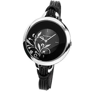 Pierre Lannier - 068H733 - Montre Femme - Quartz Analogique - Cadran Noir - Bracelet Cuir Noir