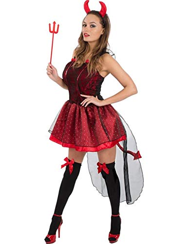 Adult Ladies Sexy Red Devil Outfit Halloween Fancy Dress Costume Small