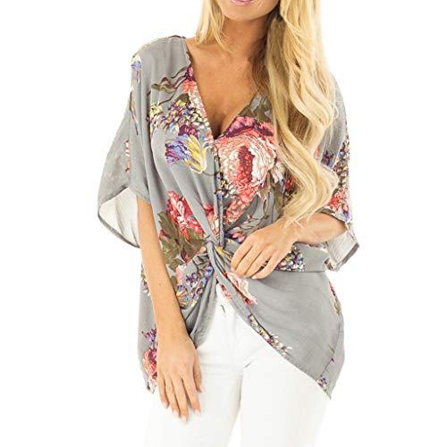 Bellelove Damen Falten Kurzarm Tunika Batwing V Ausschnitt Bluse Floral Henley Shirt Bluse T Shirt -