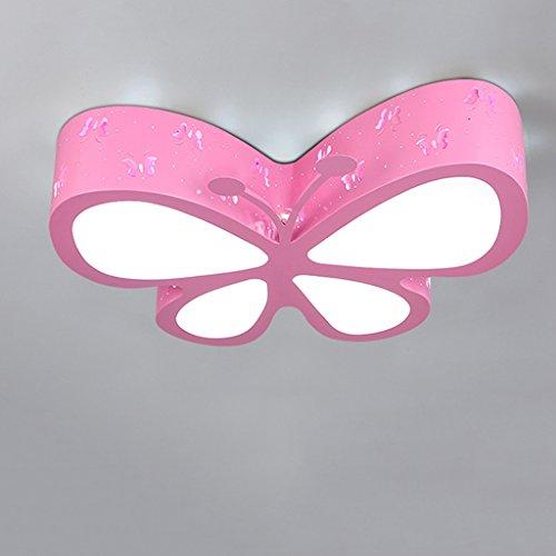 Lampada europea del soffitto della farfalla del ferro, lampada moderna moderna del lampadario a risparmio energetico del led, camera da letto dei bambini camera da letto corridoio luci decorative decorative ( color : pink )