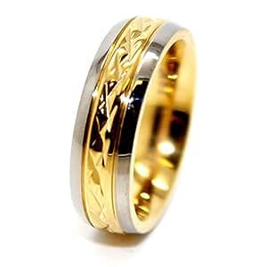 5mm Golden Coloured Middle Facet Titanium Wedding Band Size J ½