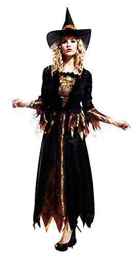 Honeystore Damen Halloween Kostüme Edel Gold Hexe Cosplay Allerheiligen (Superheld Einfach Kostüm Wirklich)