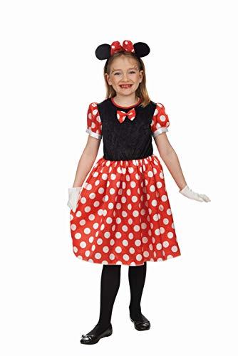 Andrea Moden 277-128 Kinderkostüm Mäuschen, Mädchen, Rot, Schwarz, Weiß, 128 cm