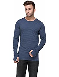 Rigo Blue And Black Striped Thumbhole Full Sleeve Tshirt For Men