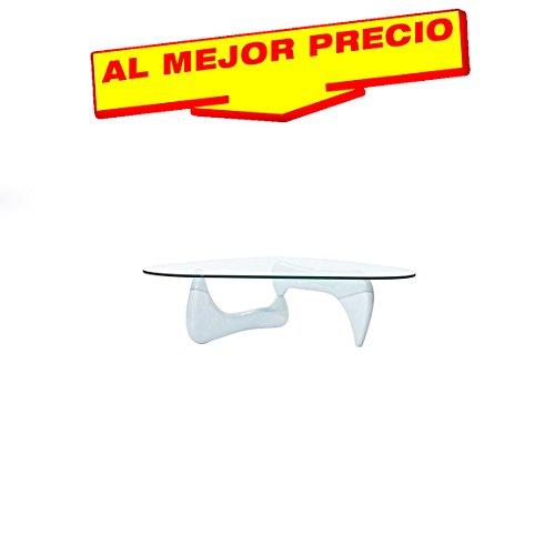 MESA DE CENTRO LACADA BLANCA , CRISTAL, DISEÑO MODERNO 120X70CM MODELO NEVIS