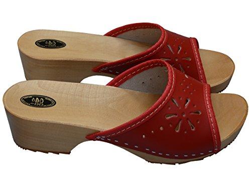 Damen Clogs Holzschuhe Leder Holz Pantoletten mit Absatz Sandalen Bunte Farben VK10 Red