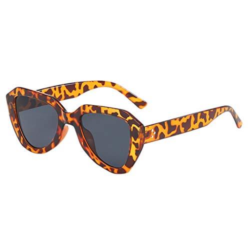 fazry Damen Herren unregelmäßige Form Sonnenbrille Vintage Style Brille(Braun)