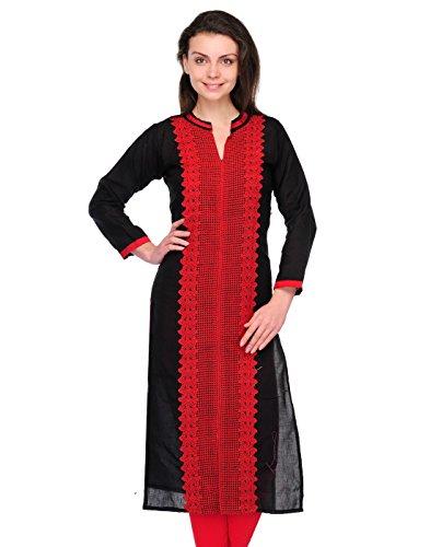 Cenizas Women Cotton Straight Kurta (Kurtis/2101/Blk/M _Black _M)