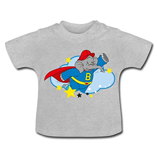 Benjamin Blümchen Superheld Beni Mit Cape Baby T-Shirt von Spreadshirt®, 18-24 Monate, Grau (Superhelden Shirt Mit Cape)