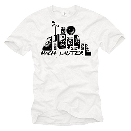 Dj Electro T-Shirt für Herren MACH LAUTER weiß / schwarz Größe S-XXL Weiß