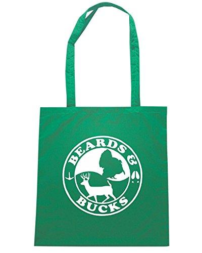 T-Shirtshock - Borsa Shopping FUN0725 beards and bucks vinyl hunting car decal 32758 Verde