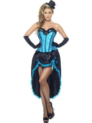 Smiffys, Damen Burlesque Tänzerin Kostüm, Korsett und einstellbarer Rock, Größe: S, (Tänzerinnen Burlesque Kostüme)